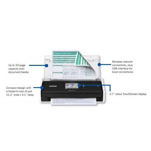 Brother ADS-1500W Wireless Compact Colour Scanner with Touchscreen