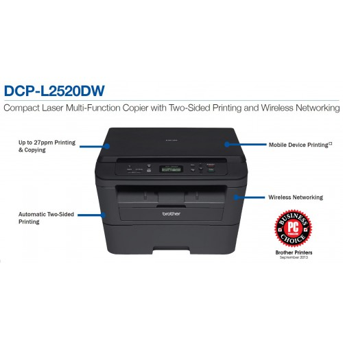 Brother DCP-L2520DW Compact Laser 3-In-1 with Wireless Networking and Duplex Printing